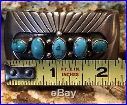 Important Rare Hopi Preston Monongye Sterling & Gem Blue Turquoise Cuff BRACELET