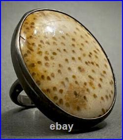 Incredibly RARE Vintage SANTA DOMINGO Sterling Silver Shell Ring 20 Grams