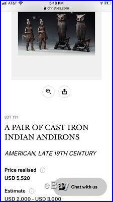 Indian Native American Iron Fireplace Andirons Firedog RARE EARLY MASSACHUSETTS