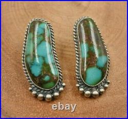 KIRK SMITH Sterling Silver Kingman Turquoise Post Earrings Native American Rare