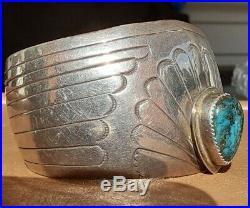 Large Vintage Navajo Rare High Grade Candelaria Turquoise Sterling Bracelet 7