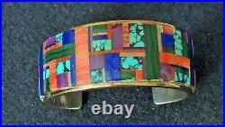 Lynol Yellowhorse, Navajo, Rare, Vintage, Gold and Silver Inlay Bracelet