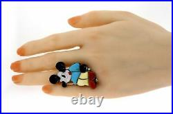 MP Zuni Mickey Mouse Ring Full Body Sterling Silver Vintage Gem Inlay rare sz 6
