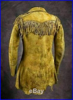 Men's Native American Rare Buckskin Beaded Leather Jacket Fringes War Shirt