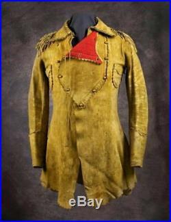 Men's Native American Rare Buckskin Leather Jacket War Shirt Red Indian BrandNew