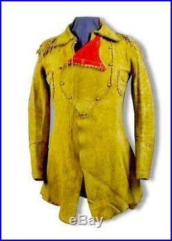 Men's Native American Rare Style Coat Buckskin Leather War Shirt Jacket