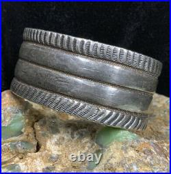 Museum Quality! Early, RARE 1920s Sterling Silver HANDMADE Cuff Bracelet