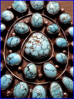 Museum displayed MARK CHEE Navajo Sterling Bracelet Rare Gem Blue #8 Turquoise