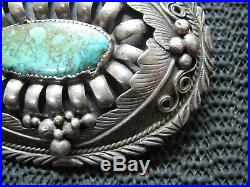 NAVAJO STERLING SILVER TURQUOISE HIPPIE BELT BUCKLE! VINTAGE! RARE! 1970s! 74g