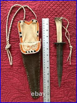 Native American Indian Quilled Sheath & Bone Handle Knife rare Quill work