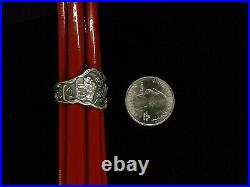 Native American Sitting Bull WHIRLING LOG SSMC Sterling spoon ring size 11 Rare