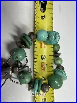 Native American Turquoise And Sterling Grasshopper Bracelet Very Rare