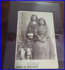 Native american cabinet card Nes-Chila And Children Apache Indian Geronimo Rare