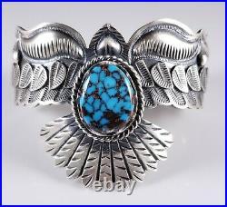 Navajo Eagle Bracelet Sterling Silver Rare Egyptian Turquoise By Derrick Cadman