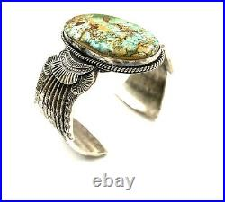 Navajo Handmade Sterling Silver Royston Turquoise Bracelet By Garrett Hale Rare