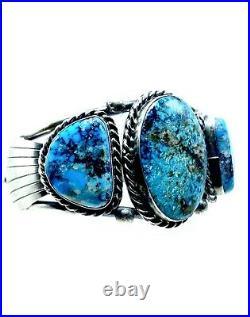 Navajo Kingman Turquoise Sterling Silver Handmade Bracelet By Betta Lee Rare