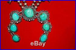 Navajo OLD Bench Bead Squash Blossom Sterling Turquoise RARE Necklace 137g
