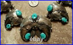 Navajo RICHARD BITSIE Squash Blossom Necklace Turquoise Sterling, 305g, 30 RARE