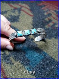 Navajo Rare 3 Stone Square Turquoise Sterling Ingot Cuff. Heavy adult