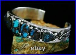 Navajo Sammie Kescoli Begay Rare Gem Grade Bisbee Turquoise Sterling Bracelet