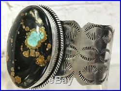 Navajo Stampwork Very Rare Hubei Turquoise Sterling Silver Cuff Bracelet 83g