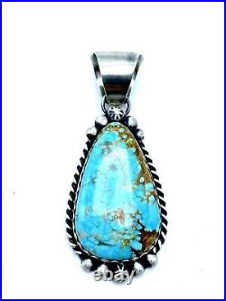 Navajo Sterling Silver #8 Turquoise Pendant Handmade By Augustine Largo Rare