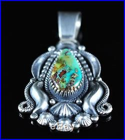 Navajo Sterling Silver Pendant Rare Gem Grade Turquoise Mountain Derrick Gordon