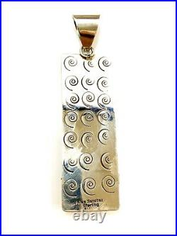 Navajo Sterling Silver Petroglyph Kingman Turquoise Pendent By Alex Sanchez Rare