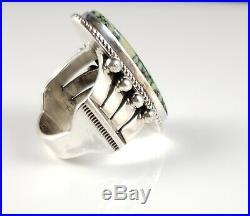 Navajo Sterling Silver Rare Gem Grade Nevada Peacock Variscite Ring Andy Cadman