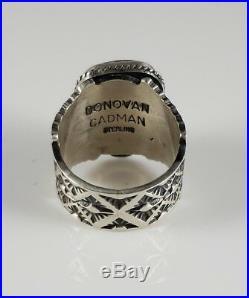 Navajo Sterling Silver Rare Gem Grade New Lander Ring Handmade By Donovan Cadman