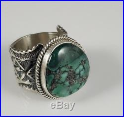 Navajo Sterling Silver Ring Rare Pixie Turquoise Handmade By Donovan Cadman
