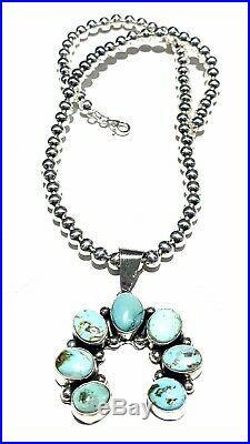 Navajo Sterling Silver Royston Turquoise Naja Pendant Handmade By Betta Lee Rare