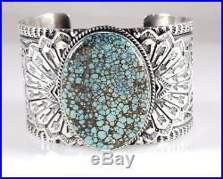 Navajo Sterling Silver Turquoise Bracelet Rare Hubei Handmade By Sunshine Reeves