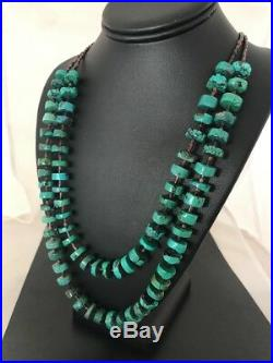 Navajo Turquoise 12 mm Heishi Sterling Silver 2 Strand Necklace Rare