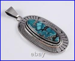 Navajo Turquoise Pendant Sterling Silver Rare Gem Hubei Handmade By Leonard Nez