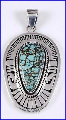 Navajo Turquoise Pendant Sterling Silver Rare Web Hubei Handmade By Leonard Nez