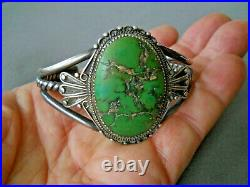 Old Native American RARE Green Orville Jack Turquoise Sterling Silver Bracelet