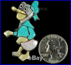 Old PAWN Vintage 60s Rare Donald Duck Zuni CAROL KEE Sterling Turquoise Ring