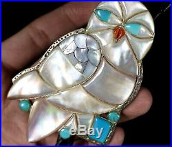 Old Pawn Vintage ZUNI RARE Mother of Pearl OWL Carved Inlay Bolo Tie Pendant