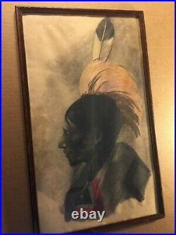 Original Striking Rare Antique Framed Native Portrait Painting American