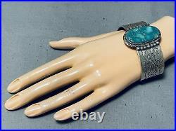 Particularly Rare Vintage Navajo Damale Turquoise Sterling Silver Bracelet