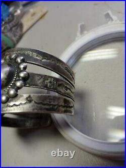 Pawn RARE WOW NAVAJO STERLING TURQUOISE CUFF 76 grams #8 large stone / Ingot
