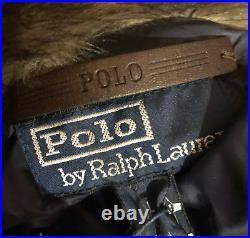 Polo Ralph Lauren Lamb Shearling Fur Navajo Aztec Down Coat Mens Medium RARE