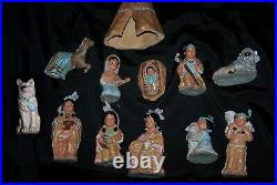 Provincial Ceramic Bisque Hand-painted Native American Indian Nativity Set Rare