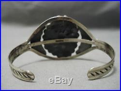 Quality Rare Vintage Navajo Royston Turquoise Sterling Silver Leaf Bracelet Old