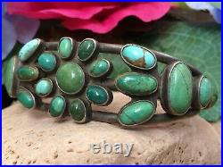 RARE 1920s OLD PAWN ZUNI TURQUOISE CLUSTER HAND WROUGHT STERLING CUFF BRACELET
