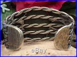 RARE 1940s OLD PAWN FRED HARVEY ERA TURQUOISE STAMPED NAVAJO OR ZUNI BRACELET