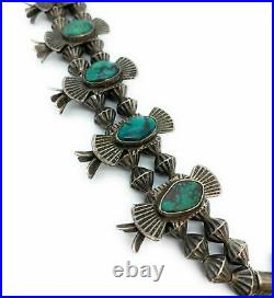 RARE 1950's Vintage Sterling Silver Turqoise Bow Tie Squash Blossom Necklace