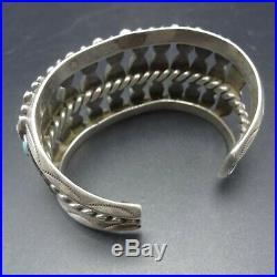 RARE DESIGN Vintage NAVAJO Sterling Silver TURQUOISE Cluster Cuff BRACELET 69g