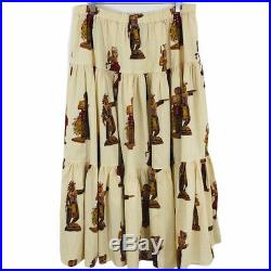 RARE Double D Ranch Wear Indian Chief Print Maxi Skirt Elastic Waist Cowgirl L